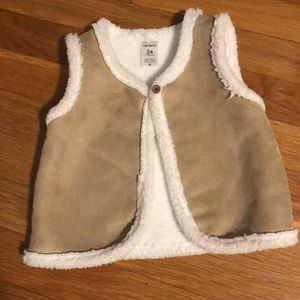 Brown and white vest
